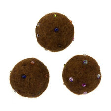 Felt Round Brown Wool Ball Beads With Rocaille 14mm Pack of 3 (B55/13)