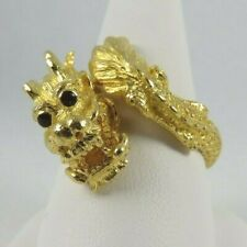 ESTATE 23k Yellow Gold Dragon Ring Men Size 9