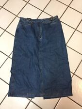 Lauren Ralph Lauren Belted Long Maxi Skirt Blue Denim  Sz 14 Front Zip