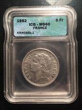 5 francs Lavrillier, aluminium 1952, MS60 / SUP60 par ICG