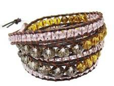 5 Wrap Bracelet  CRYSTAL  beads leather  fashion bracelet