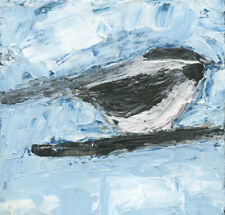 Miniature Chickadee Bird Impasto Palette Knife Painting Katie Jeanne Wood