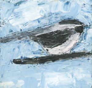 Miniature Chickadee Bird Impasto Palette Knife Painting Katie Jeanne Wood