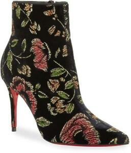 Christian Louboutin SO KATE BOOTY 85 Floral Velvet Bootie Boots Heels $1095