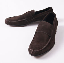 NIB $595 CANALI 1934 Chocolate Brown Calf Suede Penny Loafer US 7 D Shoes