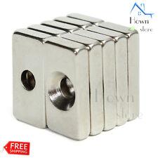 N52 Magnet Block Neodymium Iron Boron Hole 4mm Rectangle Rare Earth NIB NEO 10pc