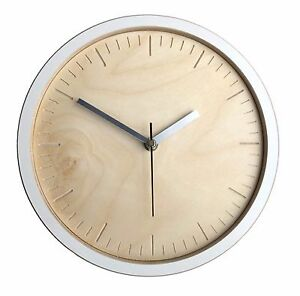 Wall clock - handmade modern contemporary white, wood, cut out dashes .