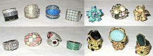 Mixed Lot - 14 x Lovely Fashion Statement rings - Mixed Sizes S / M Approx L - N