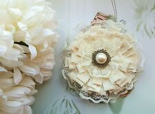 Shabby Chic Vintage Fabric Textile Flower Pearl Lace Corsage Brooch Pin