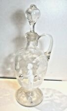 ANTIQUE MARY GREGORY DECANTER WHITE ON CLEAR BOY WITH HOOP AND STICK