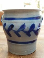 Vintage German Blue Salt Glazed Pottery Westerwald Crock Jar Pot w/2 ears