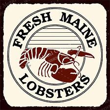 (VMA-L-6417) Fresh Maine Lobster Vintage Metal Art Beach Seafood Retro Tin Sign