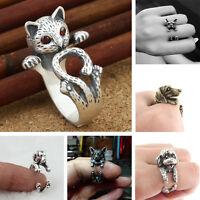 Hot Fashion c3D Animal Antique Bronze Bulldog Statement Wrap Ring Jewelry Gift