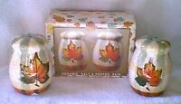 AUTUMN ACCENTS LEAF Ceramic Salt & Pepper Shakers Shaker Set NEW NIB
