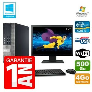 """PC Dell 7010 SFF Intel I3-2120 RAM 4Go Disque 500Go DVD Wifi W7 Ecran 17"""""""