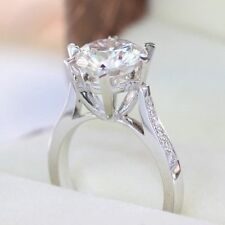 3 Ct Forever Brilliant Round Diamond Engagement Ring In 10K White Gold Over