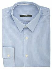 Ex Store Slim Fit Rope Striped Long Sleeved Single Cuff Shirt Blue