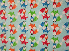 BLUE FOX FOXY FOXES COLORS COTTON FABRIC BTHY