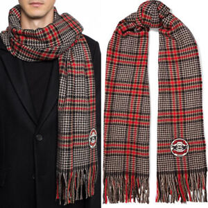 "NEW $690 GUCCI Men/Unisex Red Black Plaid GG LOGO PATCH Wool Cashmere 80"" SCARF"