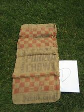 Vintage Advertising Purina Chows Micro Mix Brown Burlap Feed Sack Bag 50# D