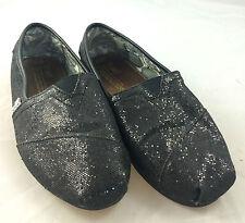 TOMS CLASSIC BLACK SPARKLE SLIP-ON FLATS 7.5W COMFORT SHOE PREMIUM STYLE