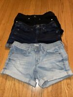 LOT OF 3 Mossimo Denim Women's Size 0/25 Mid-Rise Blue Jean Black Shorts
