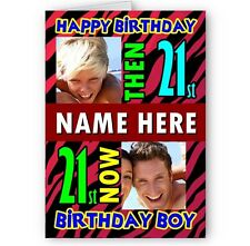 Personalised Then & Now Photos A5 Happy Birthday Card with Envelope.