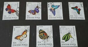 1984 Hungary Full Set Of 7 Stamps - Butterflies - PC/NH