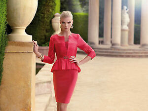 Carla Ruiz Mother Of The Bride Red Dress Suit - Size 8-10 - Box62 03 F