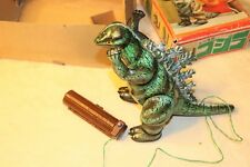 Vintage Rare BIG Tin Remote Control Walking Godzilla Bullmark, JAPAN w/Box -GOOD