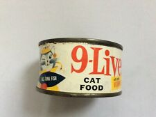 VINTAGE Nine 9-LIVES 1959 FIRST YEAR Cat Pet Food Tin Can Paper Label RARE!