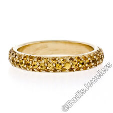 18K Yellow Gold 1.80ct 3 Row Pave Set Yellow Sapphire Citrine Eternity Band Ring