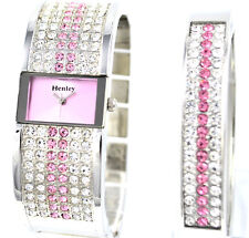 Henley Ladies Sparkling Genuine Czech Pink Crystal Watch & Bangle XMAS Gift Set