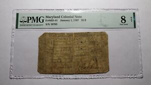 1767 $1/3 Annapolis Maryland MD Colonial Currency Note Bill VG8 PMG RARE!