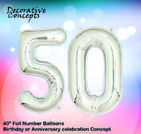 """Giant 50th Birthday Party 40"""" Foil Balloon Helium Air Decoration Age 50 SILVER"""