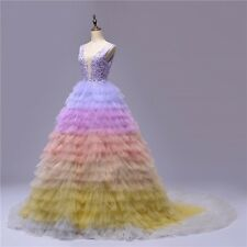 Colorful Tulle Long Prom Dress Appliques Lace Pageant Party Gown Evening Dresses