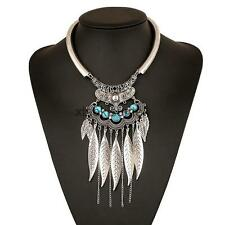 Lady Tribal Antique Silver Tassels LeavesTurquoise Statement Necklace Choker