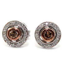 GENUINE NATURAL DIAMOND 0.28ct HALO 9K SOLID WHITE GOLD STUDS EARRINGS - RRP$900