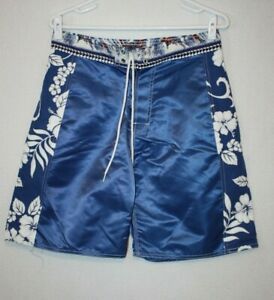VTG Unbranded Nylon Board Shorts Blue Surfing Floral Size 32 Made in Hawaii
