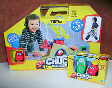 Tonka Chuck and Friends Fold & Go Set, Scoot and Scoop Ride on Plastic Truck Toy
