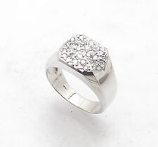Sz 8.5 Mens Pave Set Natural Diamond Pinky Band Ring REAL Solid 14K White Gold