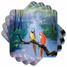 Parrot Set of 4 Square Coasters Bar Table