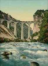Albulabahn. Viadukte bei Filisur.   W.K. vintage photochromie photochromie, vi