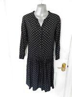 ❤ Ladies Size M Black White Star Print Dress Button Up Neckline Drawstring Waist