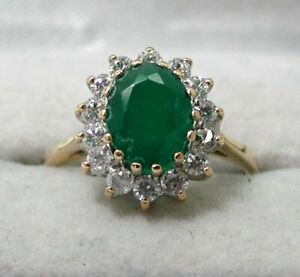 Beautiful 9 carat Gold Emerald And White Stone Cluster Ring Size O
