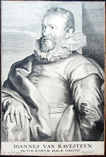 Paulus Ponzio dopo Anthonis van Dyck Ioannes van Ravesteyn chiave in rame 1645 RAR