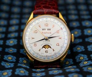 Pierce Triple Calendar Moonphase Gold Plated Vintage Watch