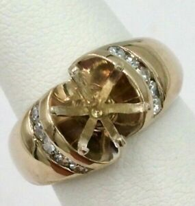 14K Yellow Gold .25TCW Diamond Setting for 1.5ct Round Cut Diamond Size 5 VS1 G