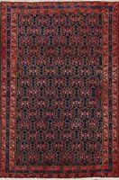 Geometric Semi-Antique Traditional Oriental Area Rug Navy Blue Handmade Wool 4x6