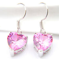 Charming Jewelry Gift Natural Pink Fire Topaz Gemstone Silver Dangle Earrings